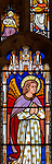 Victorian 19th century stained glass window, Lawshall church, Suffolk, England, UK by Horwood Bros - angel