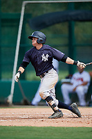 GCL Yankees West second baseman Matt Pita (16) hits an RBI single during the second game of a doubleheader against the GCL Braves on July 30, 2018 at Champion Stadium in Kissimmee, Florida.  GCL Braves defeated GCL Yankees West 5-4.  (Mike Janes/Four Seam Images)