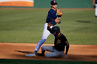 Elizabethton Twins second baseman Michael Helman (13) turns a double play during a game against the Bristol Pirates on July 28, 2018 at Joe O'Brien Field in Elizabethton, Tennessee.  Elizabethton defeated Bristol 5-0.  (Mike Janes/Four Seam Images)