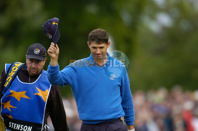 Ryder Cup K Club Straffin Co Kildare..European Ryder Cup Team player Padraig Harrington approaches the 16th green during the morning fourball session of the second day of the 2006 Ryder Cup at the K Club in Straffan, County Kildare, in the Republic of Ireland, 23 September, 2006..Photo: Barry Cronin/ Newsfile.