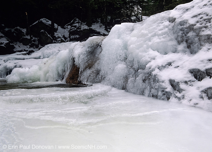 Diana's Bath in Bartlett, New Hampshire covered in ice during the winter months. These cascades are located along Lucy Brook.