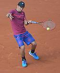Jarko Nieminen (FIN) loses to Novak Djokovic (SRB) 6-2, 7-5, 6-2 at  Roland Garros being played at Stade Roland Garros in Paris, France on May 26, 2015