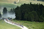 The peloton in action on the gravel section of Col des Gli&egrave;res during Stage 10 of the 2018 Tour de France running 158.5km from Annecy to Le Grand-Bornand, France. 17th July 2018. <br /> Picture: ASO/Alex Broadway | Cyclefile<br /> All photos usage must carry mandatory copyright credit (&copy; Cyclefile | ASO/Alex Broadway)