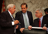 Washington, D.C. - April 13, 2004 --  National Commission on Terrorist Attacks Upon the United States (the 9-11 Commission)Commissioners Fred Fielding, left, and Richard Ben-Veniste, right, discuss testimony with Commission Chairman Thomas Kean, center, in Washington, DC on April 13, 2004 following Janet Reno's testimony.<br /> Credit: Ron Sachs / CNP<br /> [RESTRICTION: No New York Metro or other Newspapers within a 75 mile radius of New York City]