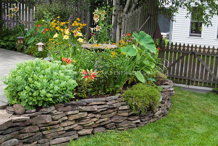 Attirant Raised Bed With Perennials, Tropicals, Annuals, Lilies, Daylilies, Sedum,  Black
