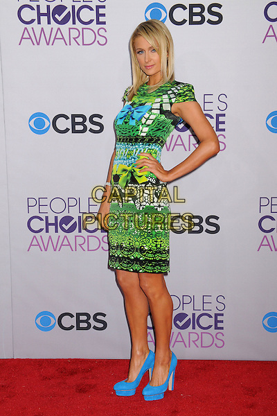Paris Hilton.People's Choice Awards 2013 - Arrivals held at Nokia Theatre L.A. Live, Los Angeles, California, USA..January 9th, 2013.full length dress hand on hip blue black green yellow turquoise pattern print dress shoes platform bow ribbon side .CAP/ADM/BP.©Byron Purvis/AdMedia/Capital Pictures.