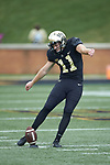 Wake Forest Demon Deacons kicker Darren Ford (11) warms-up prior to the game against the Clemson Tigers at BB&T Field on October 6, 2018 in Winston-Salem, North Carolina. The Tigers defeated the Demon Deacons 63-3. (Brian Westerholt/Sports On Film)