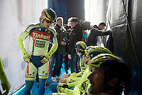 Peter Sagan (SVK/Tinkoff-Saxo) & teammates backstage on the start podium of the 58th E3 Harelbeke