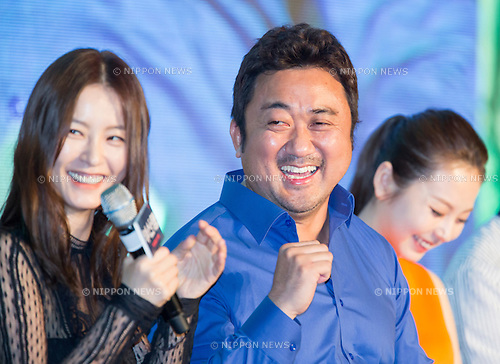 "Jung Yu-mi, Ma Dong-Seok and Sohee (Wonder Girls), June 21, 2016 : (L-R) Cast members Jung Yu-mi, Ma Dong-Seok and Sohee attend a press conference for their new movie,""Train to Busan"" in Seoul, South Korea. The zombie-action movie was filmed by recognized animator, Yeon Sang-ho and was premiered at Cannes Film Festival in the out of competition ""Midnight Screenings"" category this year. (Photo by Lee Jae-Won/AFLO) (SOUTH KOREA)"