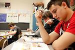 Students in a Spanish class at Cardinal High School in Middlefield, Ohio.