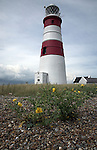 The National Trust manage the former secret weapons testing area on Orfordness, Suffolk, England. The lighthouse was built in 1792 by Lord Braybroke.