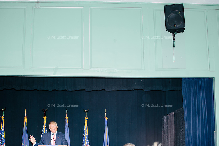 Real estate mogul and Republican presidential candidate Donald Trump speaks at a rally at Exeter Town Hall in Exeter, New Hampshire, on Thurs., Feb. 4, 2016.