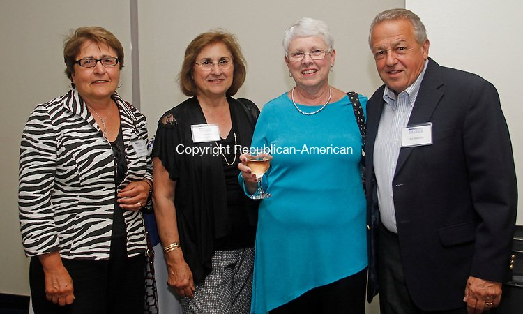 Torrington, CT-24 June 062414MK13 (from left) Rosemary Jacob and Annesa Borla, from Borla Associates Reality with Joyce and Art Mattiello  gathered at the Northwest Connecticut's Chamber of Commerce 2014 Celebration of Success in the Carole & Ray Neag Performing Arts Center at The Warner Theatre Tuesday evening.    Michael Kabelka / Republican-American