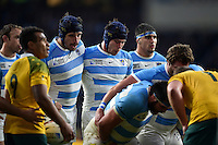 Tomas Lavanini and Guido Petti and the Argentina forwards pack down for a scrum. Rugby World Cup Semi Final between Argentina v Australia on October 25, 2015 at Twickenham Stadium in London, England. Photo by: Patrick Khachfe / Onside Images