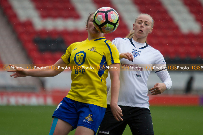 Kirsty Hanson with some close control during Doncaster Rovers Belles vs Durham Women, FA Women's Super League FA WSL2 Football at the Keepmoat Stadium on 16th April 2017