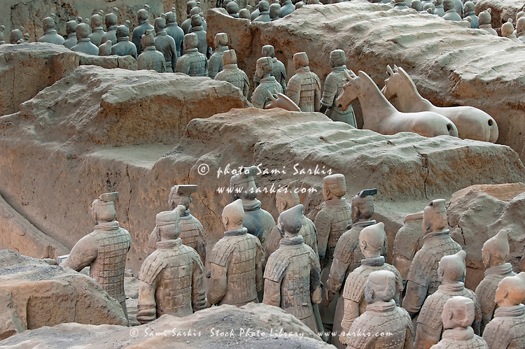 Army of terracotta warriors in Emperor Qin Shihuangdi's tomb, Bingmayong, Xian, Shaanxi, China.