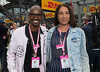 Sir Mo Farah and wife Tania during the Formula 1 Rolex British Grand Prix 2019 at Silverstone Circuit, Towcester, England on 14 July 2019. Photo by Vince  Mignott.