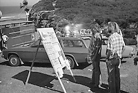 Critta Byrne (AUS) checking the heat draw during the  running of the 1976 Rip Curl Pro, Bells Beach, Torquay, Victoria, Australia. Easter 1976.Photo:  joiliphotos.com