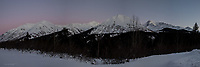 The Chugach Mountains are painted in alpenglow afteranother glorious Alaskan winter sunset.