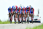 Groupama-FDJ in formation during Stage 3 of the 2018 Criterium du Dauphine 2018 a Team Time Trial running 35km from Pont de Vaux to Louhans Chateaurenaud, France. 6th June 2018.<br /> Picture: ASO/Alex Broadway | Cyclefile<br /> <br /> <br /> All photos usage must carry mandatory copyright credit (&copy; Cyclefile | ASO/Alex Broadway)