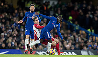 Ngolo Kante of Chelsea & Grzegorz Krychowiak of WBA during the Premier League match between Chelsea and West Bromwich Albion at Stamford Bridge, London, England on 12 February 2018. Photo by Andy Rowland.