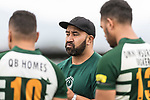 Manurewa Assistant Coach Josh Levi. Counties Manukau Premier Counties Power Club Rugby Round 4 game between Bombay and Manurewa, played at Bombay on Saturday March 31st 2018. <br /> Manurewa won the game 25 - 17 after trailing 15 - 17 at halftime.<br /> Bombay 17 - Ki Anufe, Chay Macwood tries, Tim Cossens, Ki Anufe conversions,  Ki Anufe penalty. <br /> Manurewa Kidd Contracting 25 - Peter White 2 , Willie Tuala 2 tries, James Faiva conversion,  James Faiva penalty.<br /> Photo by Richard Spranger.