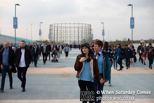 Manchester City 4, Tottenham Hotspur 3, 17/04/2019. Etihad Stadium, Champions League. Home supporters arriving at the Etihad Stadium before Manchester City played Tottenham Hotspur in a Champions League quarter final, second league. The first leg was played the previous week at Spurs' new stadium which they won 1-0. The second lead resulted in a 4-3 win for City however Tottenham progressed to the semi-finals against Ajax on the away goal rule as the teams finished 4-4 on aggregate. Photo by Colin McPherson.