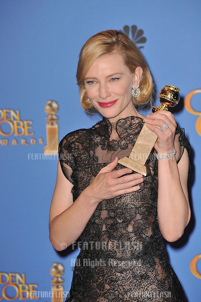 Cate Blanchett in the press room at the 71st Annual Golden Globe Awards at the Beverly Hilton Hotel.<br /> January 12, 2014  Beverly Hills, CA<br /> Picture: Paul Smith / Featureflash