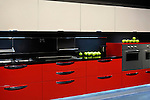 Stylish modern kitchen interior design in red colors