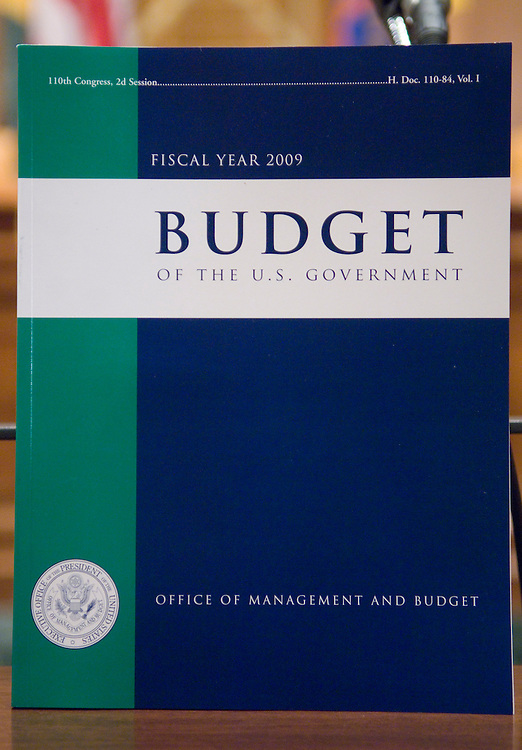 WASHINGTON, DC - Feb 04: Copies of President Bush's fiscal 2009 budget request during a photo op in the Senate Budget Committee meeting room, where Senate staff come to pick up their copies. The $3.1 trillion fiscal 2009 budget proposal, released today, represents Bush's last chance to put his imprint of the nation's fiscal landscape. But with Democrats controlling Congress and hoping to win the presidency in November, Bush's budget has little chance of being enacted. (Photo by Scott J. Ferrell/Congressional Quarterly)