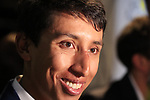 Egan Bernal (COL) speaks to the media at the Tour de France 2020 route presentation held in the Palais des Congrès de Paris (Porte Maillot), Paris, France. 15th October 2019.<br /> Picture: Eoin Clarke | Cyclefile<br /> <br /> All photos usage must carry mandatory copyright credit (© Cyclefile | Eoin Clarke)