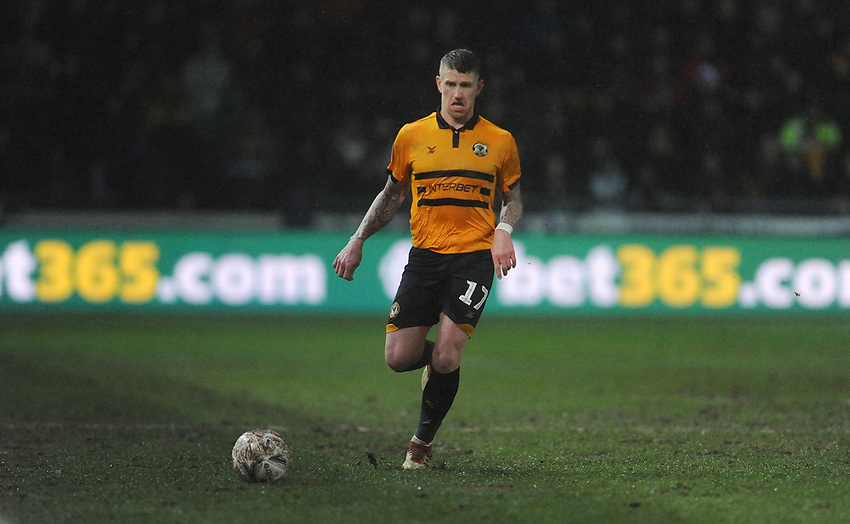 Newport County's Scot Bennett during the game<br /> <br /> Photographer Ian Cook/CameraSport<br /> <br /> Emirates FA Cup Fourth Round Replay - Newport County v Middlesbrough - Tuesday 5th February 2019 - Rodney Parade - Newport<br />  <br /> World Copyright © 2019 CameraSport. All rights reserved. 43 Linden Ave. Countesthorpe. Leicester. England. LE8 5PG - Tel: +44 (0) 116 277 4147 - admin@camerasport.com - www.camerasport.com