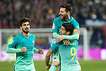 FC Barcelona's midfielder Andre Gomes (L), forward Leo Messi (C)  and forward Luis Suarez (R) celebrates after scoring a goal  during the match of Copa del Rey between Atletico de  Madrid and Futbol Club Barcelona at Vicente Calderon Stadium in Madrid, Spain. February 1st 2017. (ALTERPHOTOS/Rodrigo Jimenez)