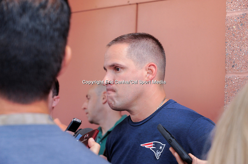 Wednesday, July 27, 2016: New England Patriots offensive coordinator and quarterbacks coach Josh McDaniels talks to media at a press conference at the New England Patriots training camp held Gillette Stadium in Foxborough Massachusetts. Eric Canha/CSM