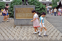 Hong Kong: Street design--kids walking around statue. Photo '82.