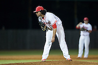 Belmont Abbey Crusaders relief pitcher Griffin Baker (44) looks to his catcher for the sign against the Catawba Indians at Abbey Yard on February 7, 2017 in Belmont, North Carolina.  The Crusaders defeated the Indians 12-9.  (Brian Westerholt/Four Seam Images)