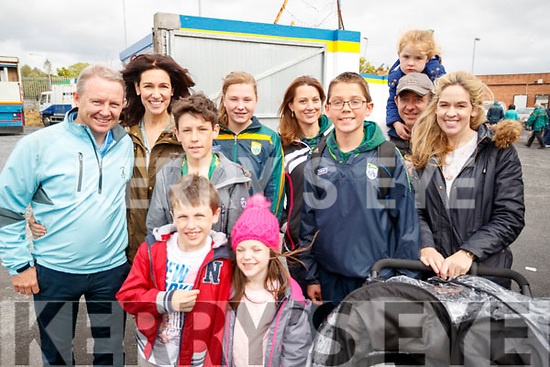 Maurice, Juliette, Patrick and William Lyons with Alison, Hannah and Sean Flynn, Isabelle Lyons and Richard, Juliette Norma and O'Brien, supporting the Kingdom, at the Kerry v Clare Munster Senior Football Semi-Final, held in Cusack, Park, Ennis on Sunday last.
