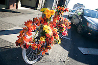 05 October 2009 - Portland, Oregon - A bicycle decorated with flowers outside the Crystal Ballroom.  Photo Credit: Elizabeth A. Miller/Sipa Press