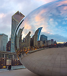 Chicago, Illinois<br /> Cloud Gate aka &quot;The Bean&quot; reflects the city skyline with the Smurfit-Stone Building, in Millennium Park