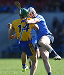 Aaron Shanagher of Clare in action against Liam Rushe of Dublin during their National Hurling League game at Cusack Park. Photograph by John Kelly.