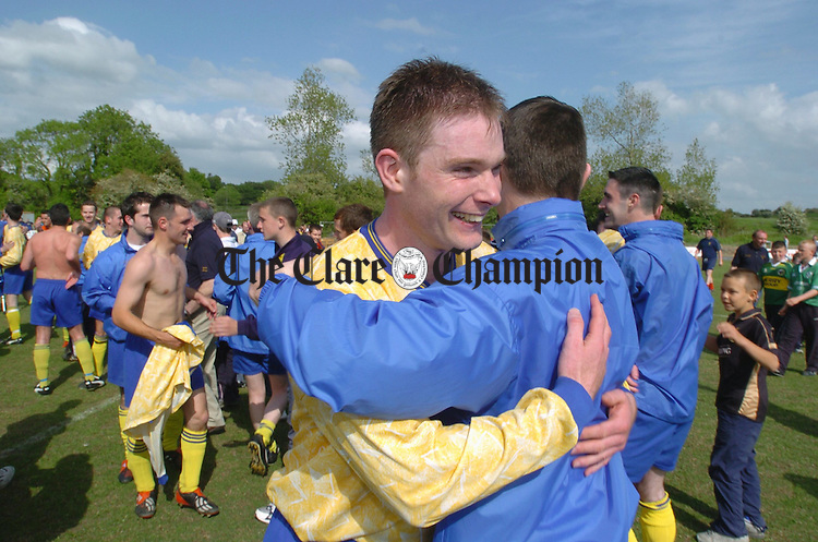 A delighted captain Brendan Rochford is congratulated after the big game in Ballycasey. Photograph by John Kelly.