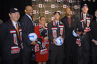 Presentation of DC United Holdings, as the new group that owns and controls the operating rights for DC United of Major League Soccer, January 8, 2007. From left to right William H.C. Chang, Victor MacFarlane, Congresswoman Eleonor Holmes Norton, District of Columbia Mayor Adrian Fenty, Brian Davis, Christian Laettner.