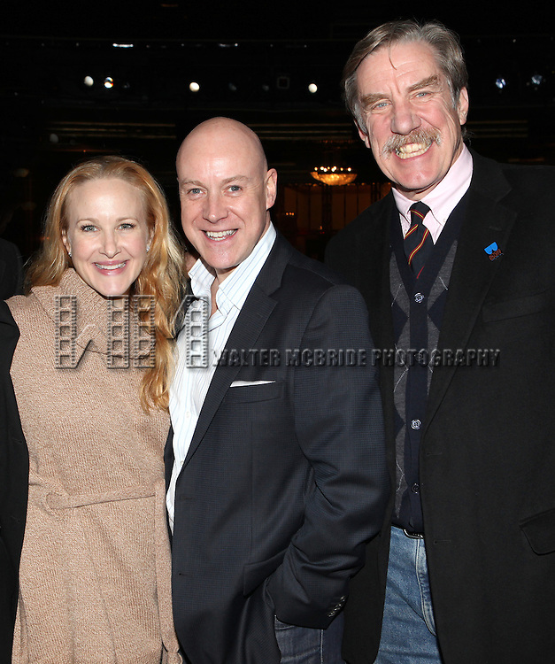 Katie Finneran, Anthony Warlow & Nick Wyman attending the Broadway Opening Night Performance  Gypsy Robe Ceremony celebrating Merwin Foard recipient  for 'Annie' at the Palace Theatre in New York City on 11/08/2012