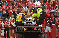NWA Democrat-Gazette/MICHAEL WOODS • @NWAMICHAELW<br /> University of Arkansas running back Rawleigh Williams III gets taken off the field after being injured in the 3rd quarter of the Razorbacks 54-46 win over Auburn during Saturdays game at Razorback Stadium in Fayetteville.