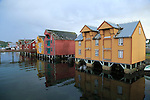 Traditional harbour buildings in fishing village of Rorvik, Norway