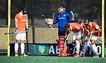 BLOEMENDAAL  -  keeper Feiko Keilholz (Bl'daal)   met de strafcorner  Hoofdklasse competitie heren, Bloemendaal-HGC (7-2). COPYRIGHT KOEN SUYK