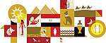 Illustrative collage of Egypt over white background