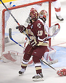 Pat Gannon watches his shot go past Brian Elliott for the game's opening goal - The University of Wisconsin Badgers defeated the Boston College Eagles 2-1 on Saturday, April 8, 2006, at the Bradley Center in Milwaukee, Wisconsin in the 2006 Frozen Four Final to take the national Title.