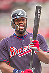 4 April 2014: Atlanta Braves right fielder Jason Heyward awaits his turn in the batting cage prior to the Washington Nationals Home Opening Game at Nationals Park in Washington, DC. The Braves edged out the Nationals 2-1 in their first meeting of the 2014 MLB season. Mandatory Credit: Ed Wolfstein Photo *** RAW (NEF) Image File Available ***