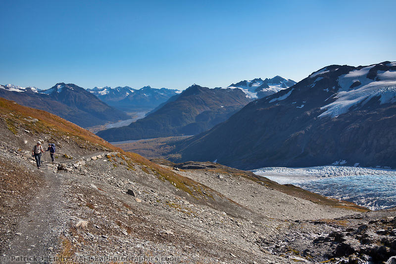 Hikers along the Harding Ice Field trail, Kenai Fjords National Park, Kenai mountains, Kenai Peninsula, southcentral, Alaska.